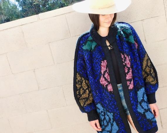 Batwing Cardigan Sweater // vintage knit boho hippie dress black 1980s hippy 80s tunic oversize jacket // O/S