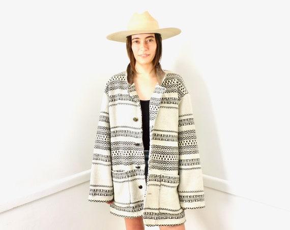 Blanket Jacket // boho hippie dress coat blouse southwest southwestern 80s 90s aztec // O/S