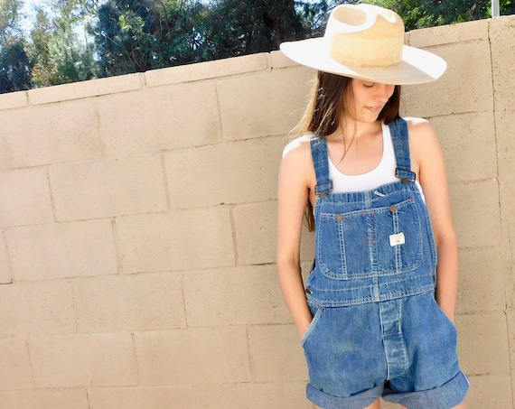 Big Mac Union Overalls // vintage 70s denim shorts boho hippie jean jeans dress cut-offs cutoffs cut offs // O/S
