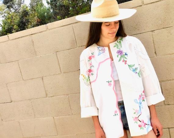 Needlepoint Jacket // vintage 70s white hand embroidered dress blouse boho hippie 1970s hippy country bird birds // O/S