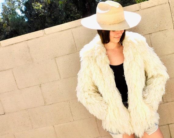 French Shag Coat // vintage 70s jacket alpine white hippy boho hippie dress blouse // S Small