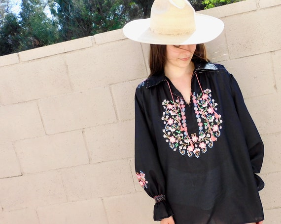 Poet Sleeve Tunic // vintage 70s boho hippie black blouse mini top shirt dress hippy embroidered Hungarian // O/S