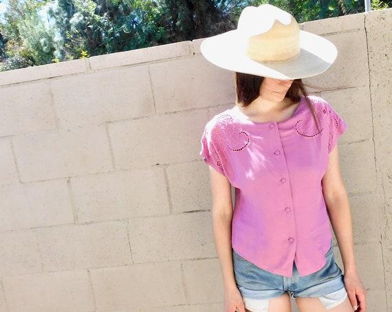 Bali Vine Blouse // vintage dress pink crochet top shirt boho hippie embroidered 80s 1980s hippy // S/M