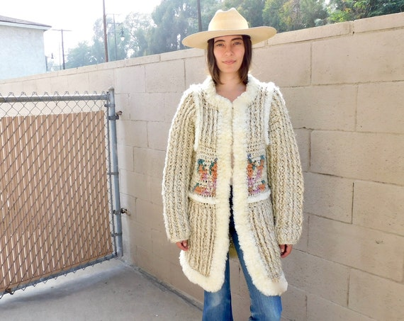 Alpine Cardigan Sweater // vintage 70s cable ivory white knit hippie dress blouse hippy 1970s tunic space dye // S/M