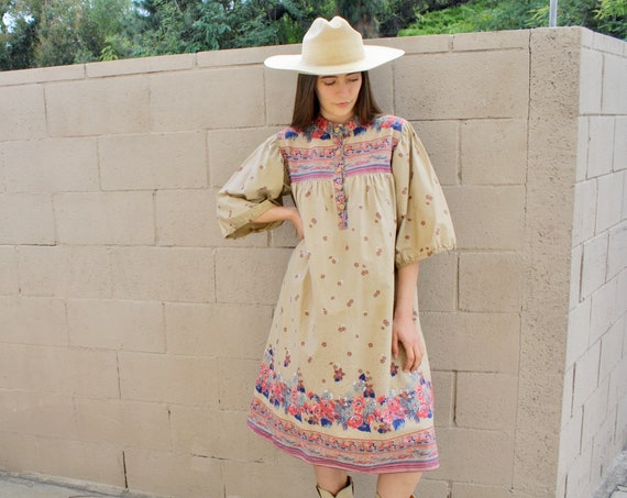 Sissy Dress // vintage 70s boho hippie 1970s hippy sun country tent prairie cotton // S/M