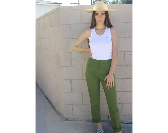 Machine Project Jeans // vintage green army military utility boho hipster hippie pants dress 70s 1970s // S Small