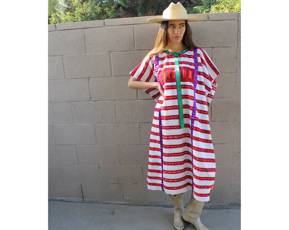 Oaxacan Huipil Ribbon Dress // vintage 70s embroidered white red boho hippie Mexican midi hippy 1970s woven cotton hand loomed // O/S