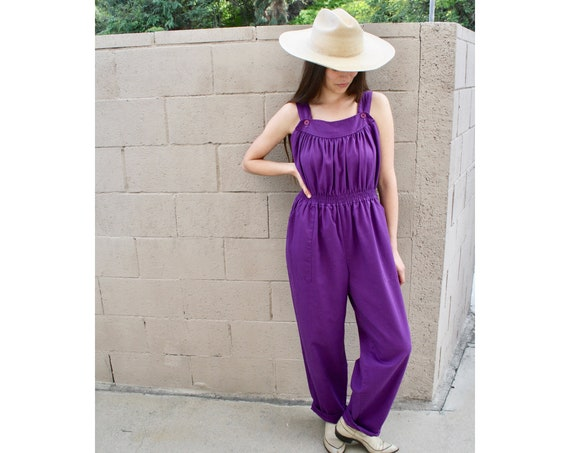 Grape Soda Jumpsuit // vintage 70s 80s high waist boho hippie hippy 1970s cotton purple dress // O/S