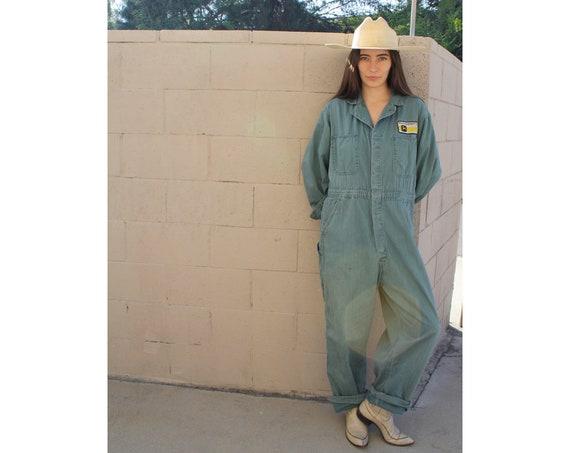 Chicago Union Coveralls // vintage 70s denim jumpsuit dungarees overalls boho hippie herringbone dress military 50s 60s boyfriend 42 // O/S