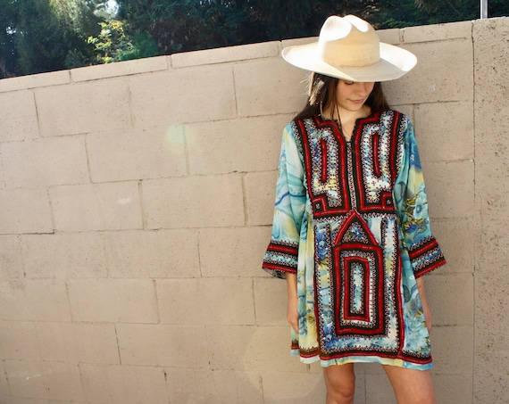 James Dress // vintage 70s 1970s blue embroidered afghan boho hippie Indian empire waist mini hippy sun // XS X-Small/S