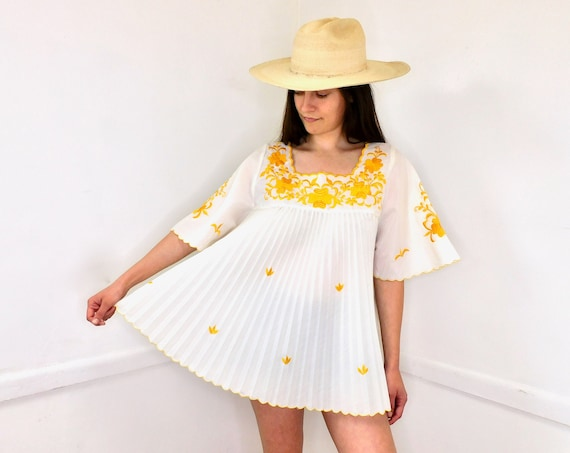 Lampshade Blouse // vintage 70s white yellow boho hippie tunic embroidered dress hippy // O/S