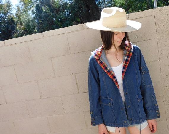 Bozeman Jacket // vintage 70s denim jean western country hippie shirt dress cotton 1970s // O/S