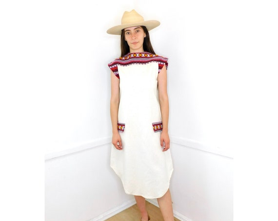 Guatemalan Rainbow Dress // vintage sun hand made 1970s boho hippie cotton hippy ivory white Mexican // S Small