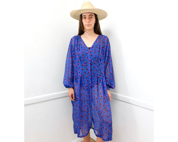 Ungaro Dress // vintage 80s 1980s sheer purple formal boho hippy hippie party // O/S