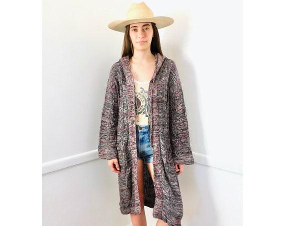 Space Dye Cardigan Sweater // vintage 70s knit hippie dress blouse hippy 1970s tunic space dye black white // S/M