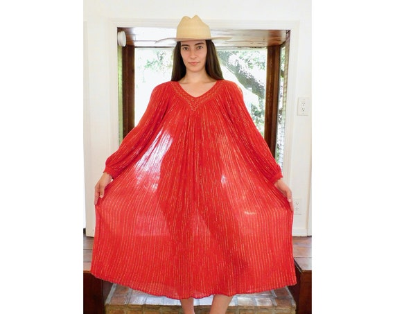 Greek Gauze Dress // vintage 70s boho gauze dress hippie hippy 1970s red sun crochet lurex poet sleeves sleeve // O/S