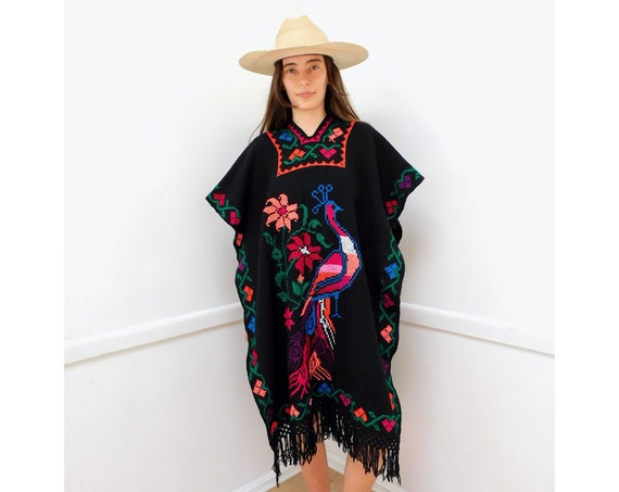 Neon Peacock Poncho // vintage 70s Mexican boho blanket dress hippie jacket blouse 1970s southwestern wool black hand embroidered // O/S
