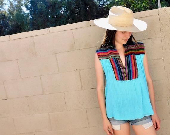 Rainbow Gauze Blouse // vintage boho cotton tunic dress hippie hippy 70s 80s sun // O/S