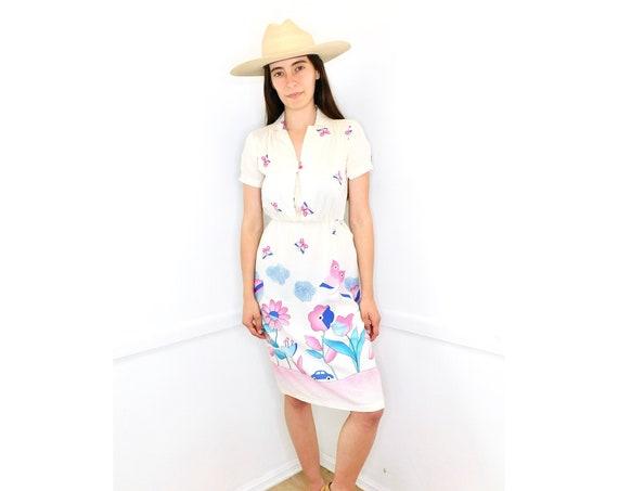 Blue Car Dress // vintage high waist off white boho 70s 80s 1980s 70s // XS/S