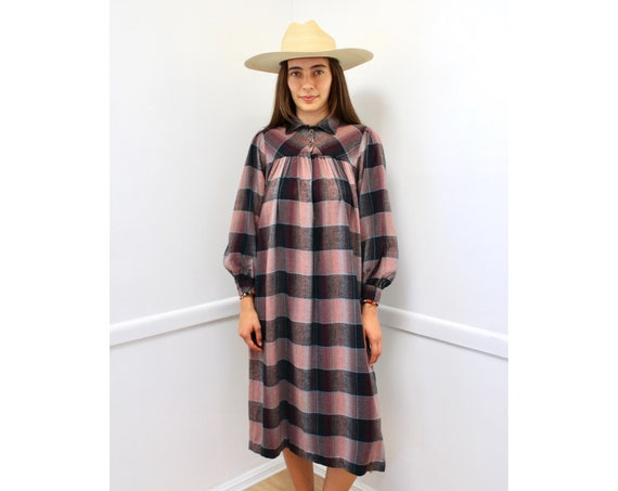 Jeff Banks English Dress // vintage 70s boho plaid flannel wool hippie midi 80s designer made in England // O/S