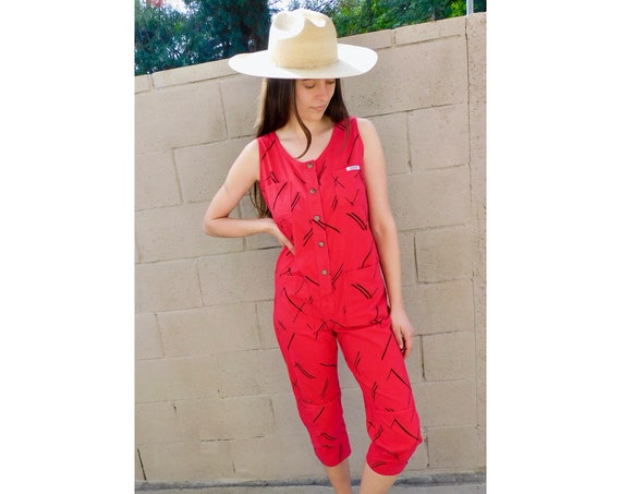 Echo Park Jumpsuit // vintage red cropped hippy boho 80s overalls hippie jean dress Ideas // S Small