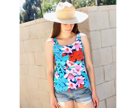 Island in the Sun Tank // vintage boho hippie cotton dress blouse 70s 80s // S Small