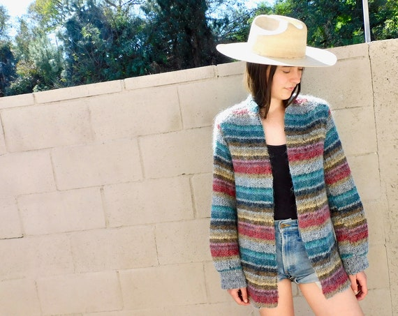 Rainbow Cardigan Sweater // vintage 70s knit hippie dress blouse hippy 1970s // S/M