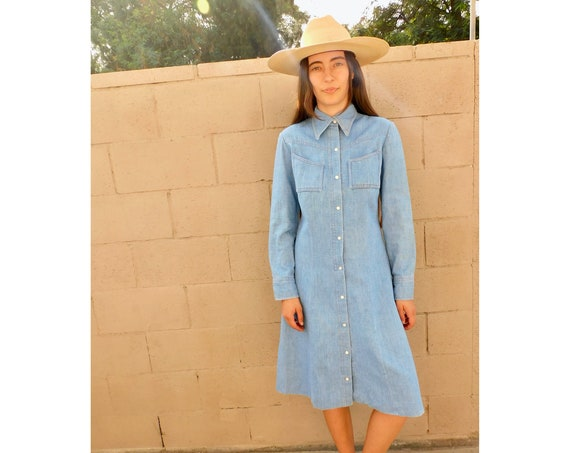 Marfa Denim Dress // vintage cotton denim jean boho hippie hippy sun 70s 1970s midi country western // S/M