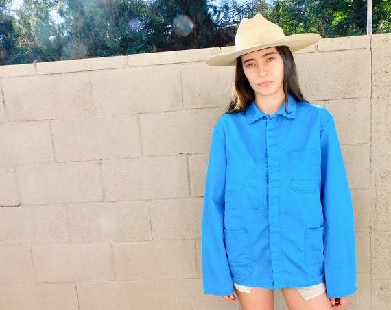 French Chore Coat // vintage 70s faded hippy jean jacket boho hippie blouse shirt dress 1970s oversize denim work painters // O/S