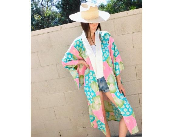 Watercolor Kimono // vintage maxi long jacket dress boho hippie blouse top 70s 1970s robe mini bathing suit cover beach swimsuit // O/S
