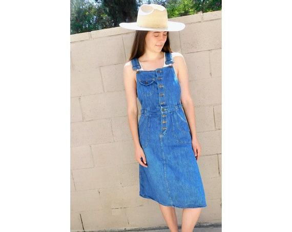 Overall Dress // vintage sun denim high waist 70s 1970s boho hippie hippy country western // XS/S