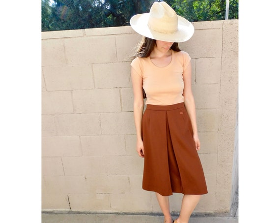Givenchy French Skirt // vintage 70s brown dress boho hippie high waist 1970s hippy designer // S Small