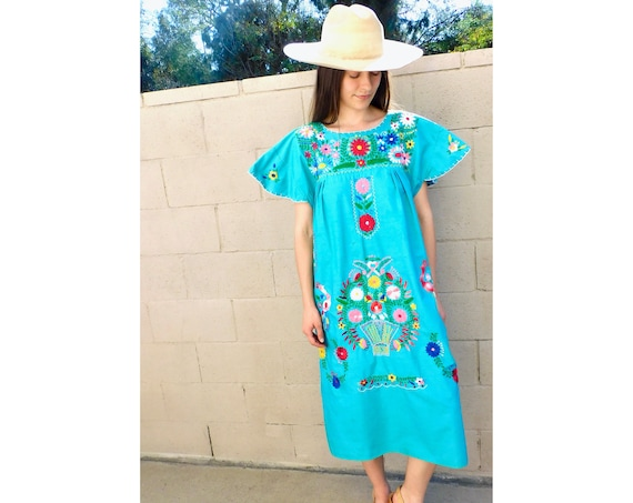Hand Embroidered Dress // vintage sun midi embroidered floral 1970s boho hippie cotton hippy teal turquoise Mexican // O/S