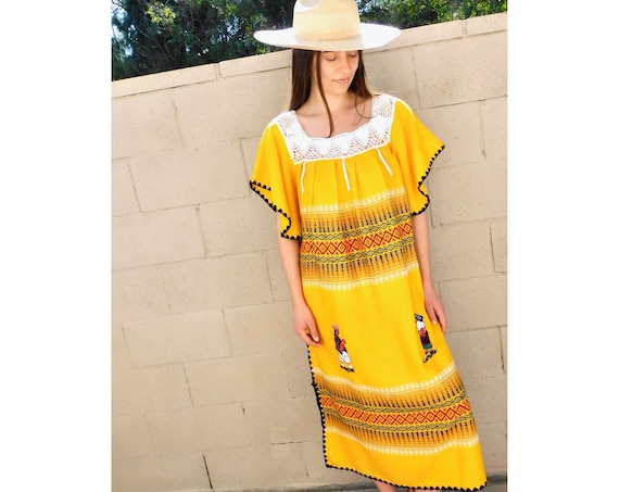 Village Dress // vintage 70s sun hand embroidered floral maxi 1970s boho hippie yellow hippy Mexican // O/S