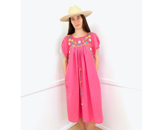 Embroidered Dress // vintage sun Mexican embroidery floral 1970s boho hippie cotton hippy pink // O/S