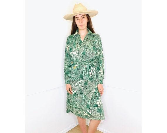 Texas Swinger Set // vintage green blouse 70s 1970s skirt blouse boho hippie dress jersey hippy dress high waist // O/S