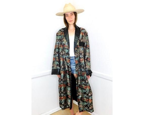 Brocade Asian Duster // vintage 70s 1970s kimono dress boho hippie blouse jacket black embroidered robe coat Chinese // O/S