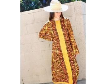 Indian Cider Dress  vintage 70s hand blocked blouse boho hippie hippy 1970s cotton orange tunic mini sun  SM