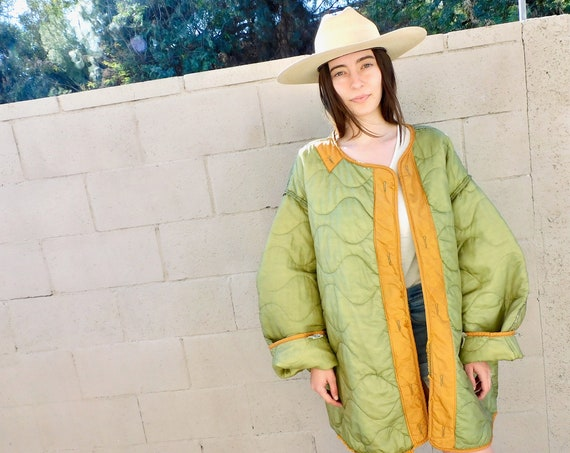 Grass Valley Liner Jacket // vintage army green gold military boho hippie oversize dress coat blouse 70s 1970s hippy // O/S