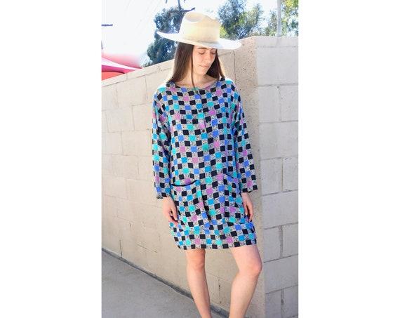 Silk Geometric Dress // vintage boho hippie mini black white midi 1980s 80s abstract print hippy // O/S