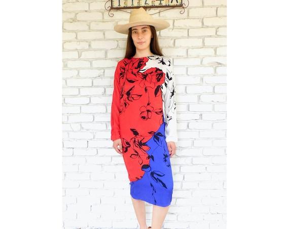 Silk Dress // vintage boho hippie midi 70s 80s secretary hippy // XS/S