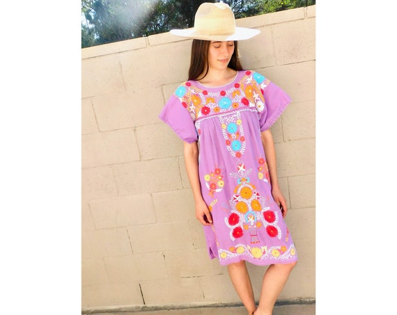 Hand Embroidered Mexican Dress // vintage sun midi embroidered floral 1970s boho hippie cotton hippy purple // O/S