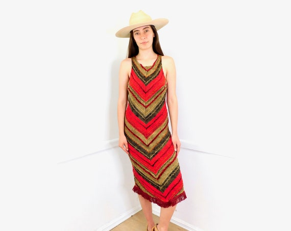 Maje Paris Dress // vintage 90s 2000s French 70s style hippie midi red cocktail formal // S/M