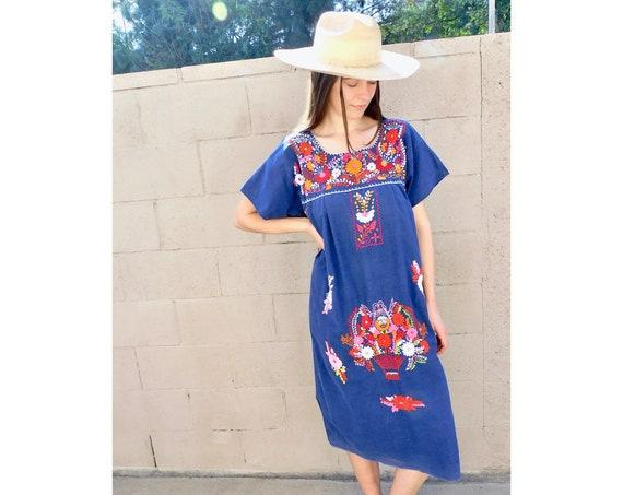 Mexico City Dress // vintage sun Mexican hand embroidered floral 1970s boho hippie cotton hippy midi navy blue // O/S