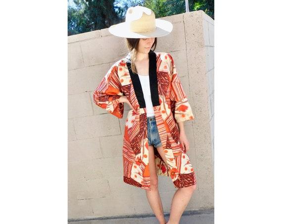 Kaleidoscope Kimono // vintage dress boho hippie jacket blouse tunic hippy 70s 1970s // O/S