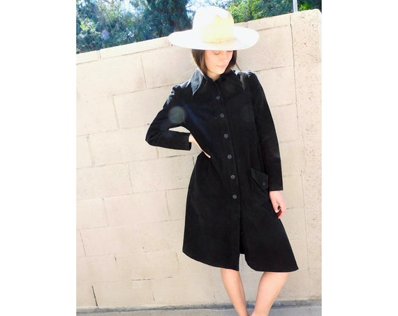 Corduroy Jacket // vintage boho hippie hippy light coat dress 70s 1970s long cotton 80s // S/M