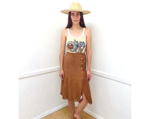 Santa Barbara Suede Skirt // vintage 60s 70s boho sun dress hippie leather midi wrap high waist // XS X-Small