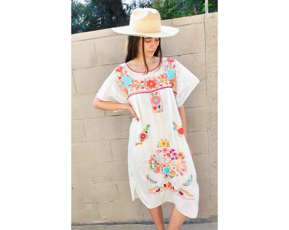 Flores Dress // vintage sun Mexican hand embroidered floral 1970s boho hippie cotton hippy midi off white // O/S