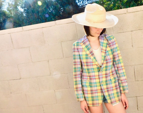 Ralph Lauren Polo Indian Madras Blazer // vintage dress boho hippie blouse 80s jacket coat rainbow plaid // S Small