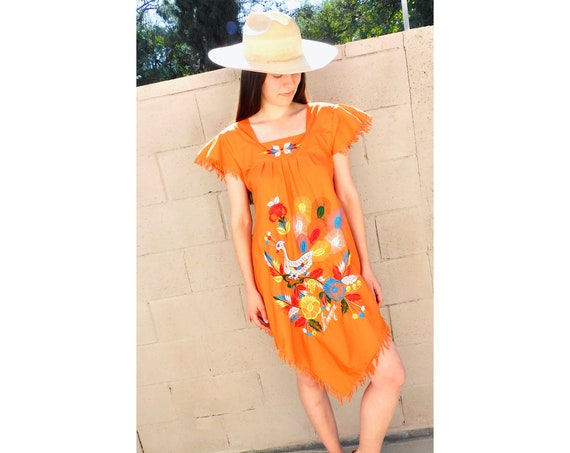 Peacock Dress // vintage Nicaragua sun midi embroidered floral 1970s boho hippie cotton hippy orange Mexican // S/M